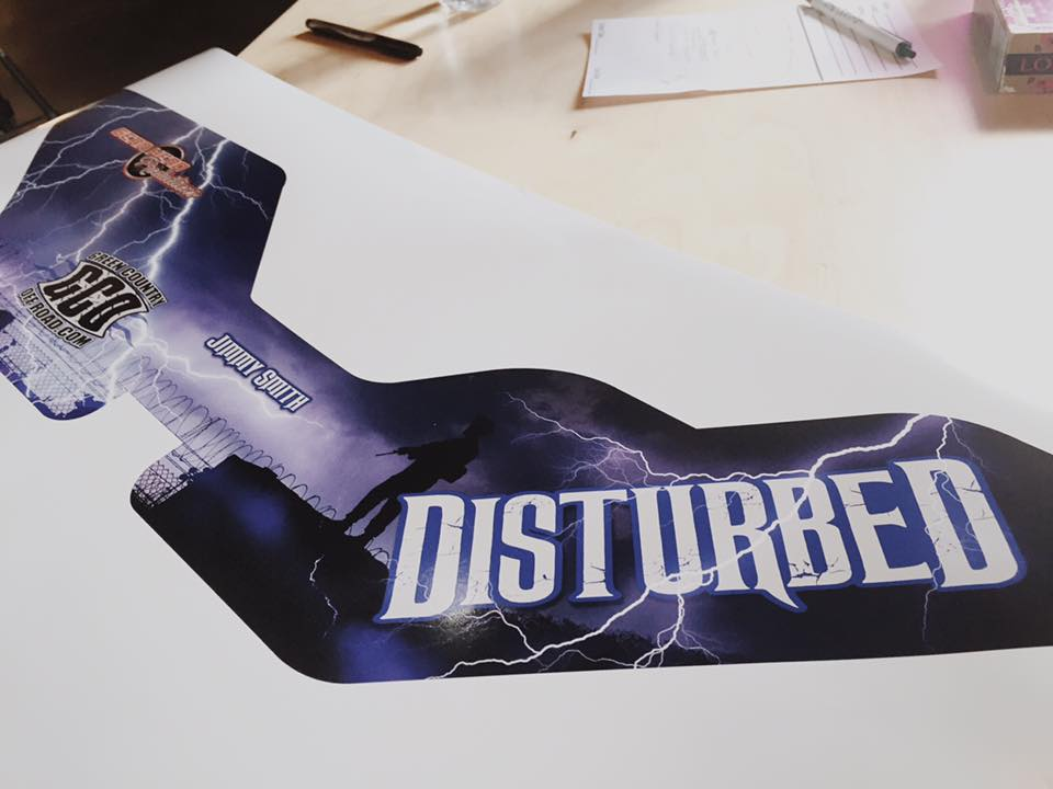 DISTURBED ROCK BOUNCER // PANEL WRAP GRAPHICS   ALUMINUM PANEL SPONSOR GRAPHICS VEHICLE GRAPHICS VEHICLE WRAP