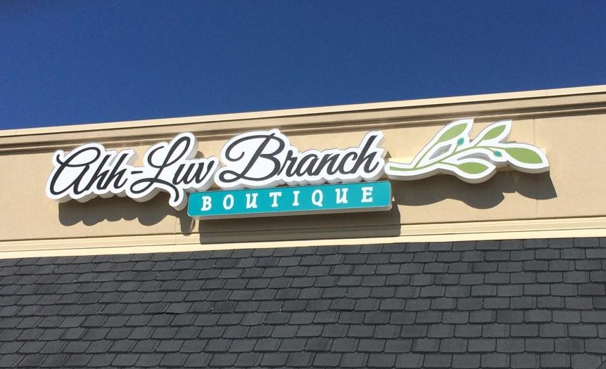 AHH LUV BRANCH // CHANNEL LETTER SIGNAGE OUTDOOR SIGNAGE WALL SIGNAGE IDENTITY SIGNAGE BRANDING LIGHTED LED
