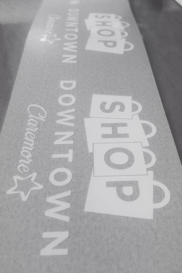 CLAREMORE MAIN STREET  // SHOP DOWNTOWN TRANSFER DECAL EVENT PROMOTION WINDOW GRAPHICS CAMPAIGN GRAPHICS