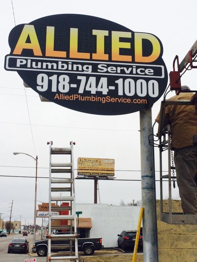 ALLIED PLUMBING // PYLON SIGNAGE UPDATE   OUTDOOR SIGNAGE SINGLE POLE CUSTOM SHAPE RETROFIT & UPDATE IDENTITY SIGNAGE BRANDING W.I.P