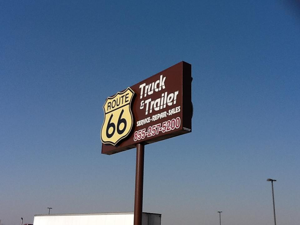 ROUTE 66 Truck & Trailer // PYLON SIGNAGE   REFLECTIVE SINGLE POLE NON-LIGHTED IDENTITY SIGNAGE DIMENSIONAL SIGNAGE