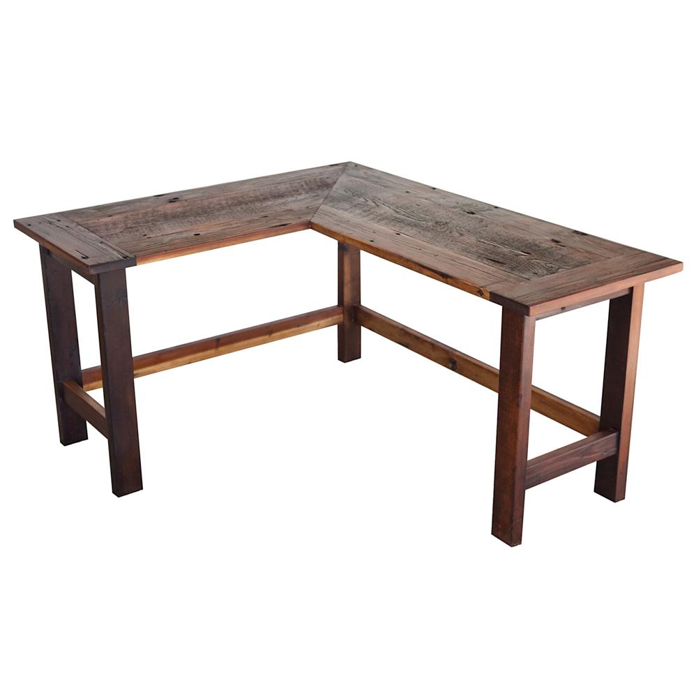 - L-Shaped Reclaimed Barn Wood Desk €� Walton Woodcraft