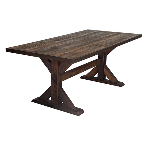 Barn Wood Trestle-Style Dining Table With Dark Stain - Barn Wood Trestle-Style Dining Table With Dark Stain €� Walton