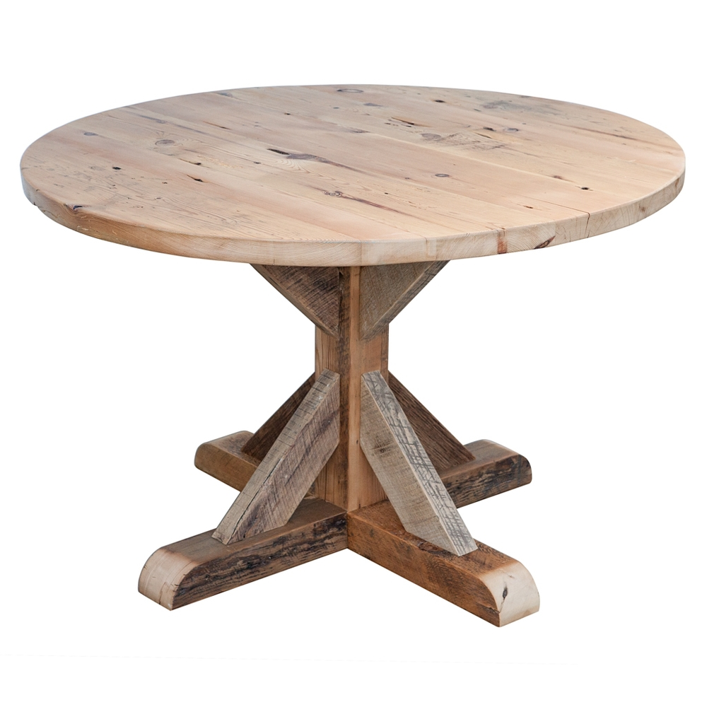 reclaimed barn wood round dining table