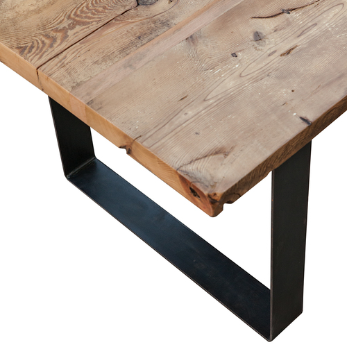 Industrial Reclaimed Wood and Steel Dining Table Handmade in Los