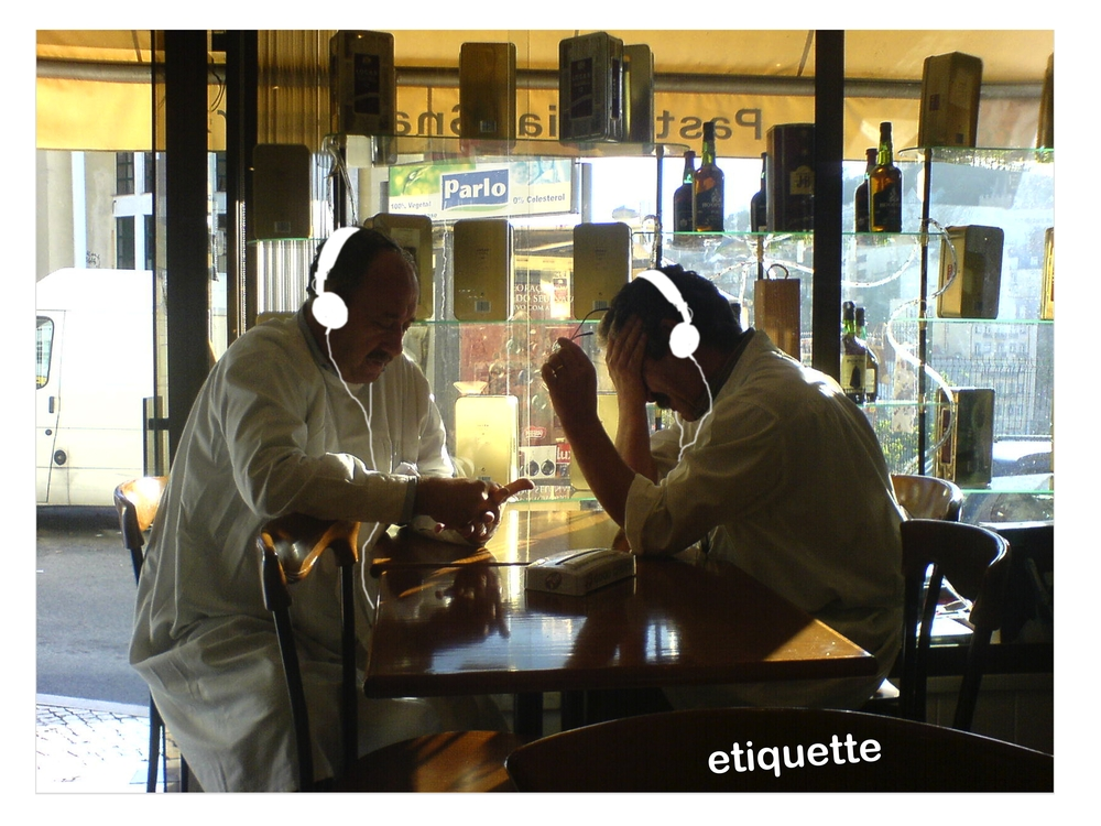 Etiquette  is a half-hour experience for two people in a public space. You sit across from each other at a table in a restaurant wearing headphones that tell you what to say to each other, or to use one of the objects positioned to the side.  Etiquette  exposes human communication at its most delicate and explores the difficulty of turning our thoughts into words we can trust. For it to work you just need to listen and respond accordingly.   Photo Credit: Anton Hampton