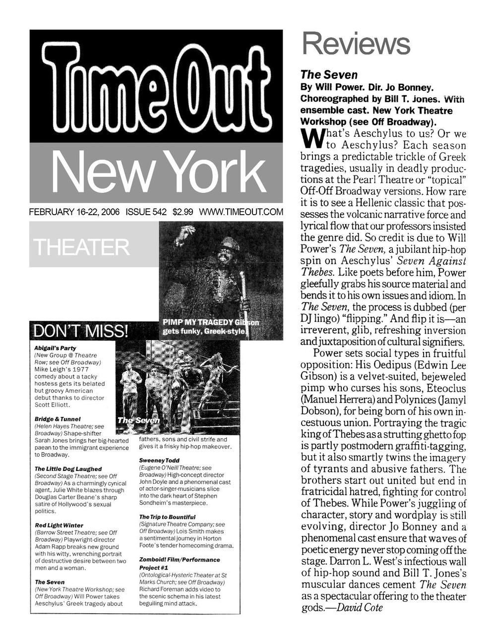 """Review of """"The Seven"""" from Time Out New York, 2/16/2006"""