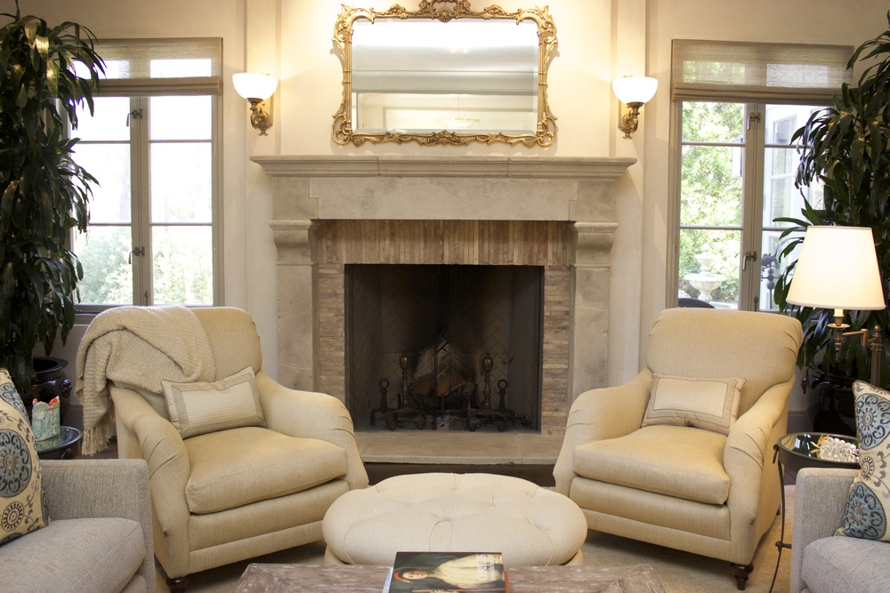 Pebble Great Room fireplace seating
