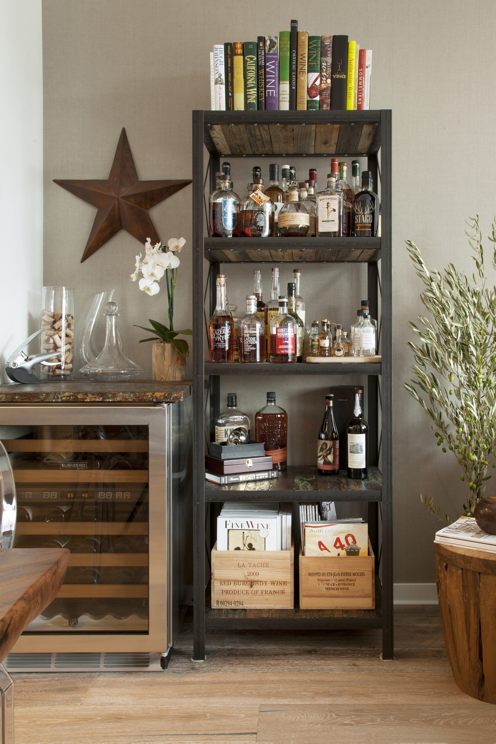 Liquor shelf and wine fridge