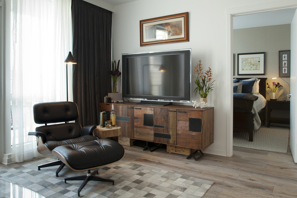 Accent chaise lounge and tv stand