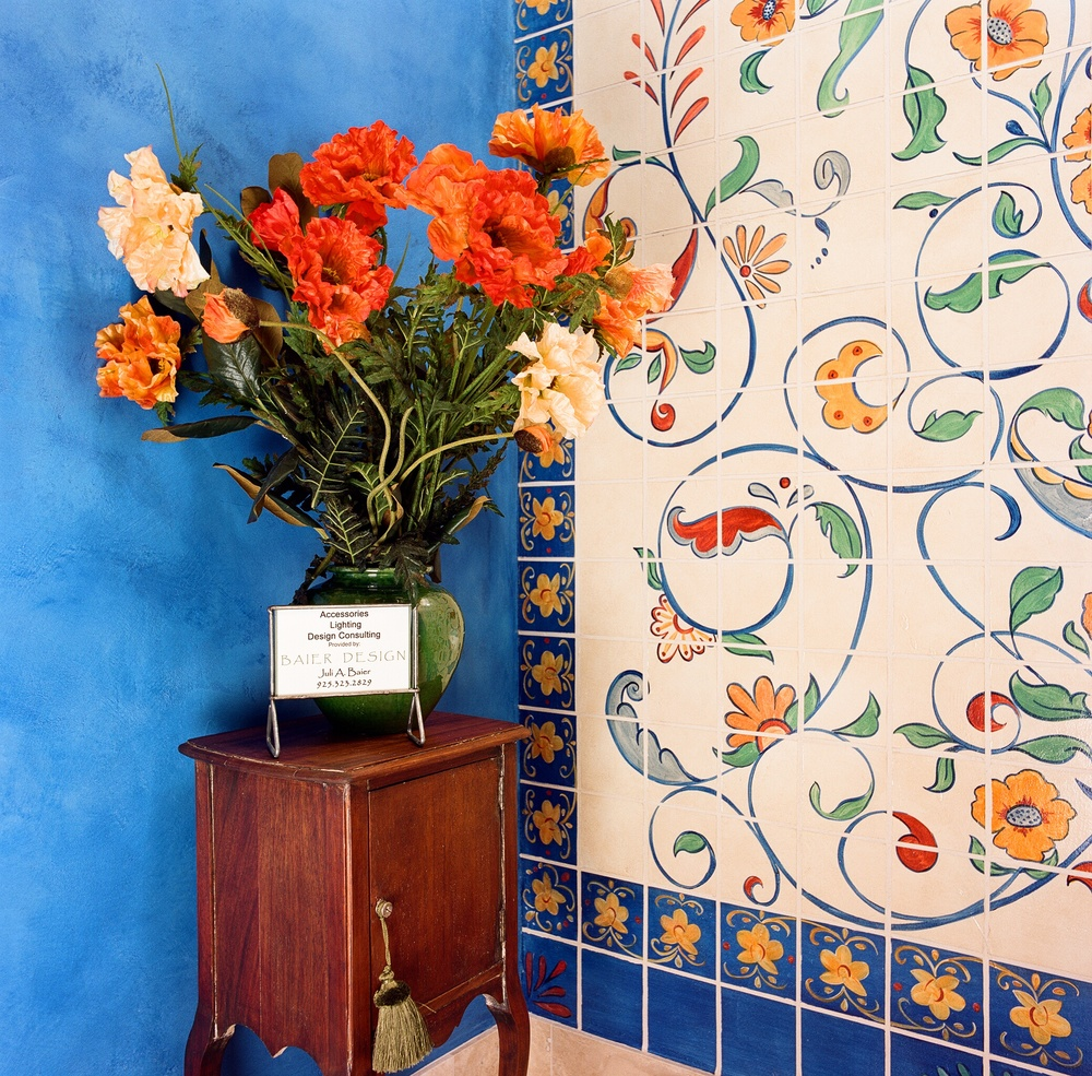 floral tile spanish style deep blue wall