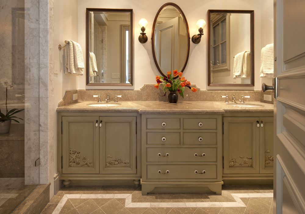 custom painted cabinet sink and mirror