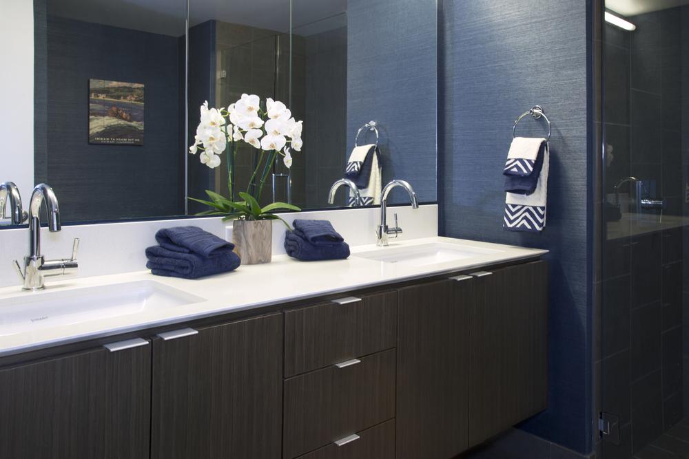 grass wall paper master bathroom modern sink