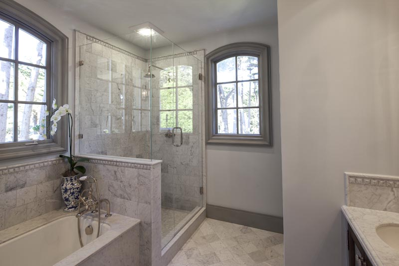 marble shower glass doors gray walls