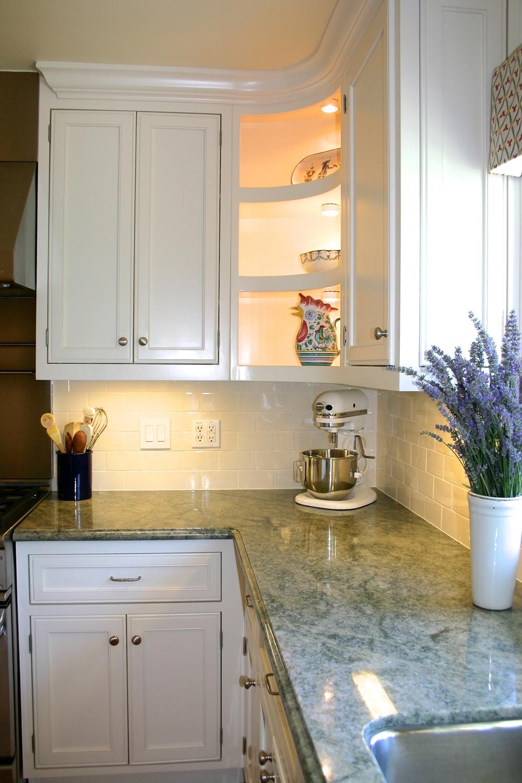 oval corner shelving and under cabinet lighting