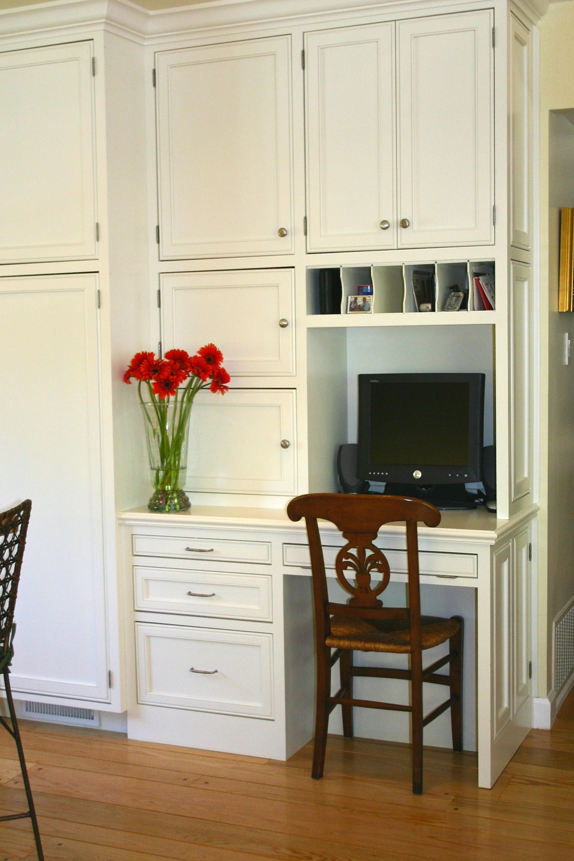 kitchen message center and desk hidden space