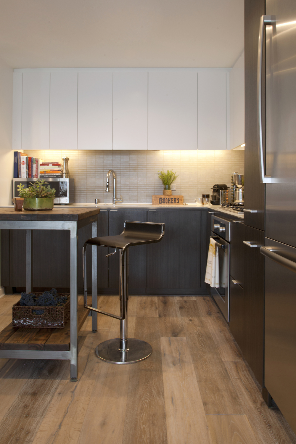 Modern white kitchen bar stools and cutting board island