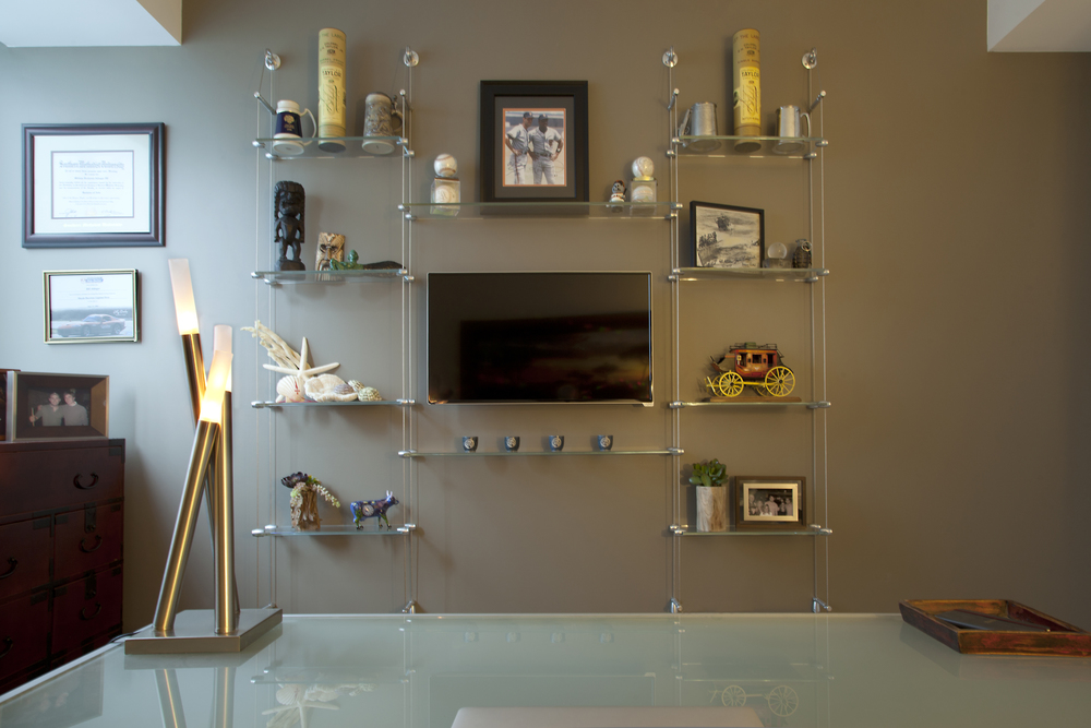 Office glass shelf design