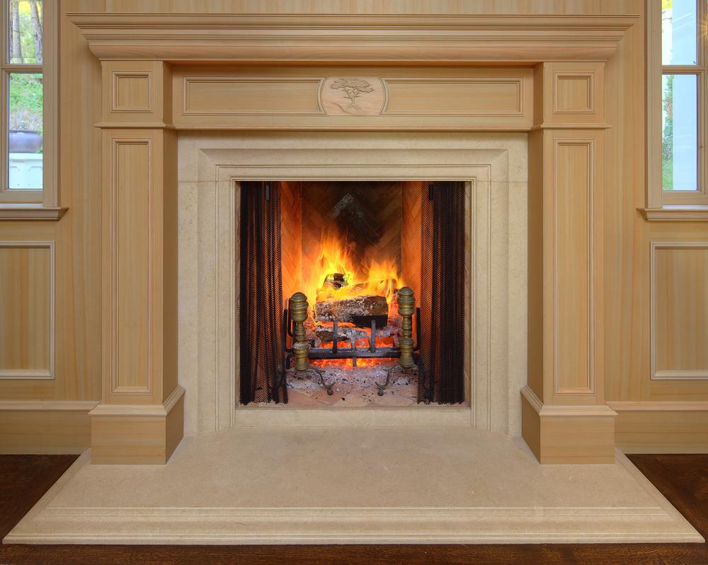 Pebble beach office custom fireplace