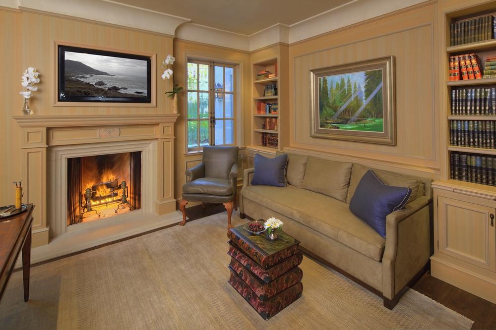 Pebble Beach office fireplace