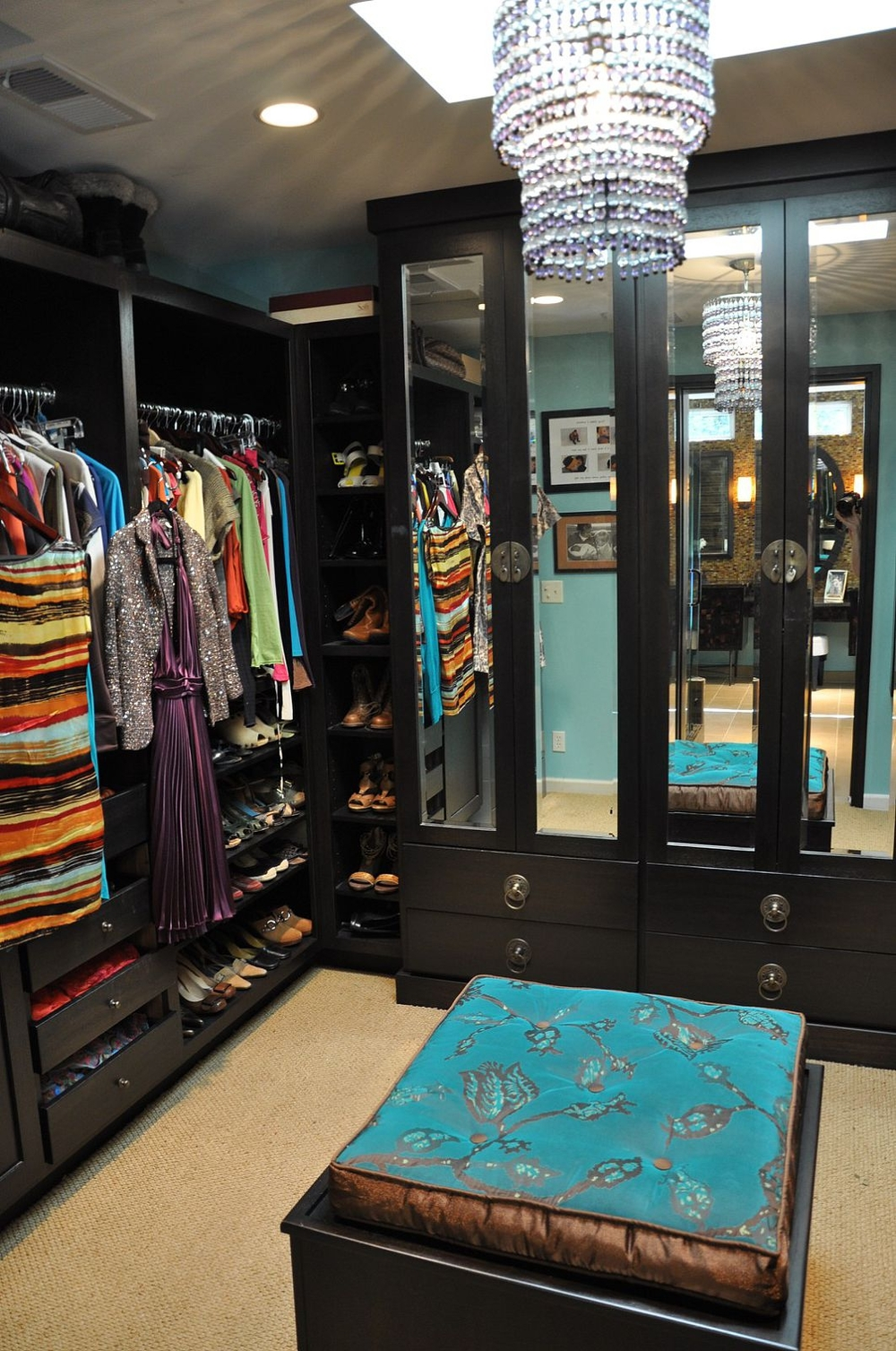 Colorful organized closet space