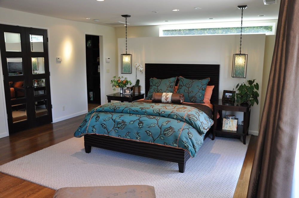 Master bedroom king bed and side table