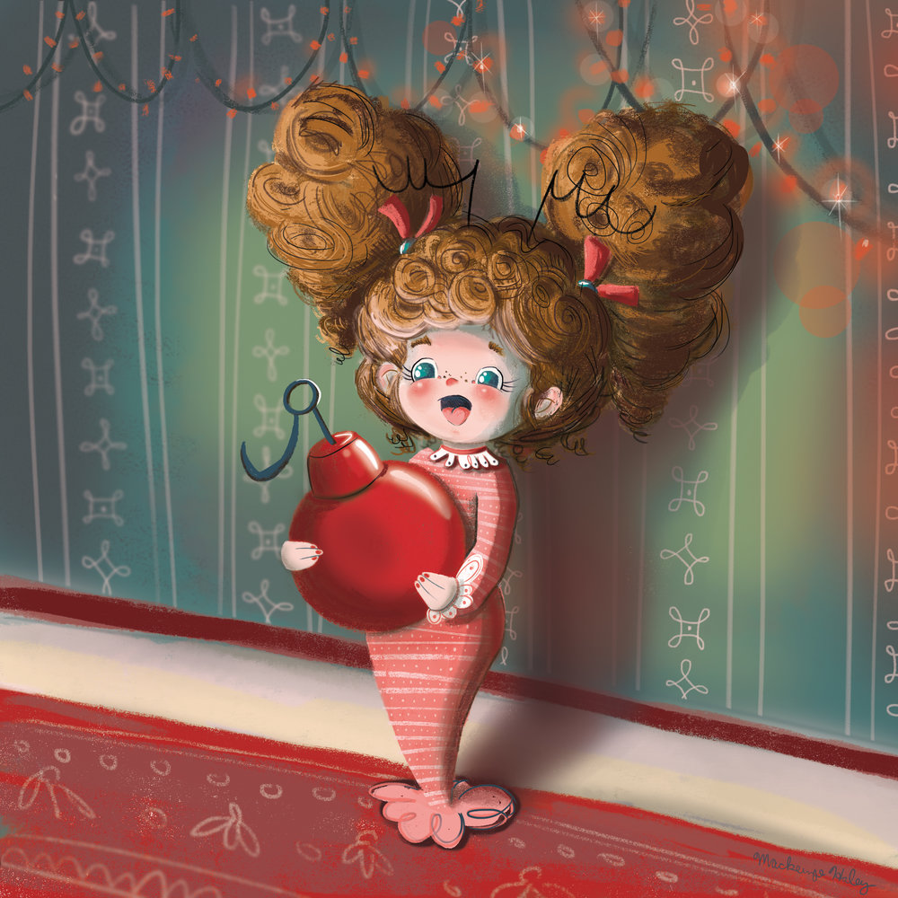 Curly-haired Cindy Lou Who/Dr. Suess homage