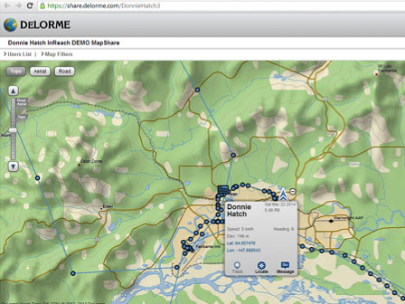 """MapShare Page. Broadcasts Track Points & Messages. Send text message """"to"""" the inReach device & """"ping"""" unit via Locate Button."""