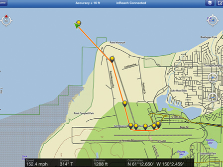DeLorme inReach. 2 Minute Satellite GPS Tracking in Alaska. Broadcasts GPS Location, Speed, Altitude, Elevation & Course.