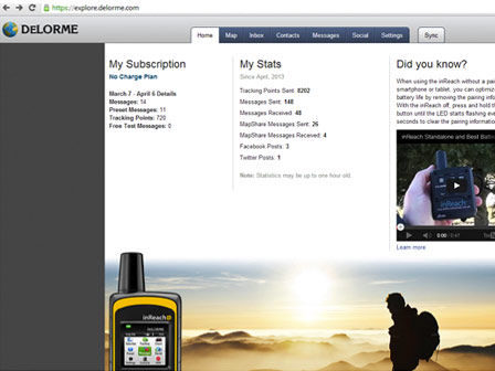 DeLorme inReach. Customer Account Portal.