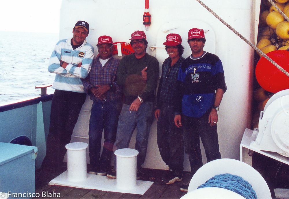 Pedro Souza 2nd from the right, next to me Apolino Marques from Peru, the other 2 are the Gomez brothers also from Madeira. Simunovich Fisheries was a great company to work for, I have a life long respect and gratitude to them.