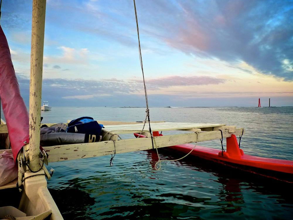 Surfing Suva pass from Bob's sailing outrigger