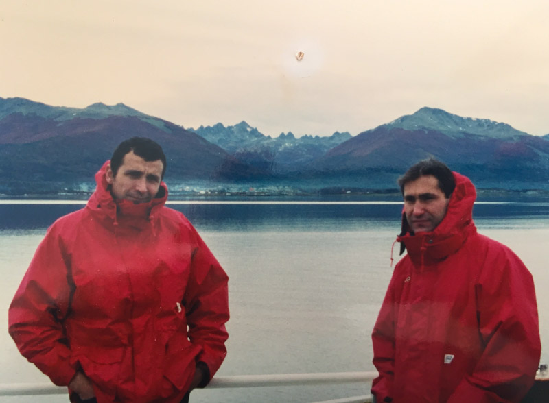 "Entering Ushuaia in 1990 (i think) on the FV ""Oca Balda"" with my mate Patricio"