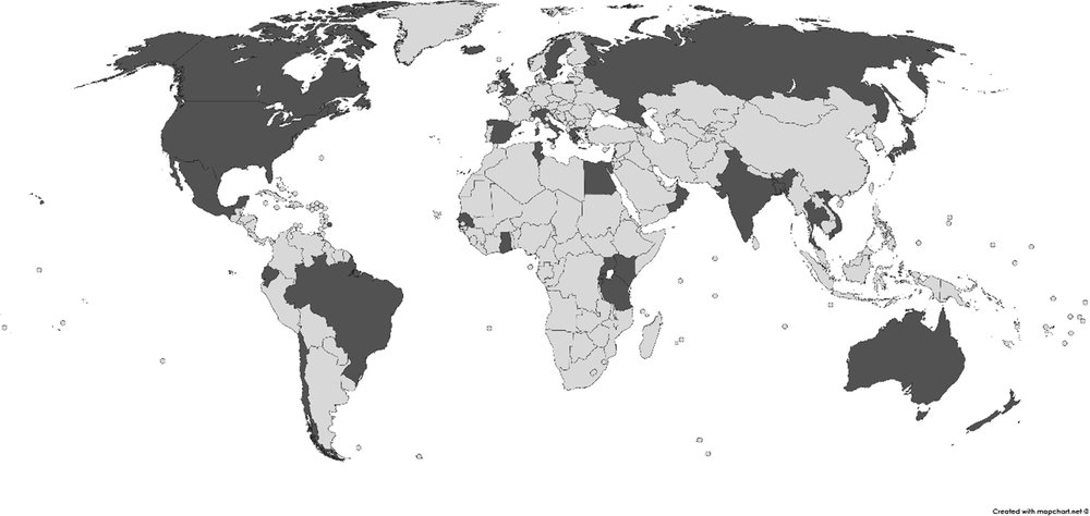 Fig. 1. Distribution of reported use of crew-share system in fisheries around the world with countries identified in the literature shown in dark grey. Back in Argentina we had a minal salary (thanks to the union) plus catch shares