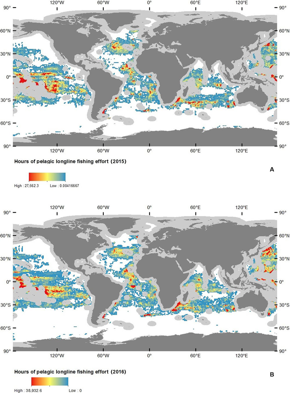 Fig. 1 Distribution of global pelagic drifting longline fishing in ABNJ in 2015 and 2016. ( A ) 2015. ( B ) 2016. Light gray areas depict exclusive economic zones (EEZs) that were excluded from this study.