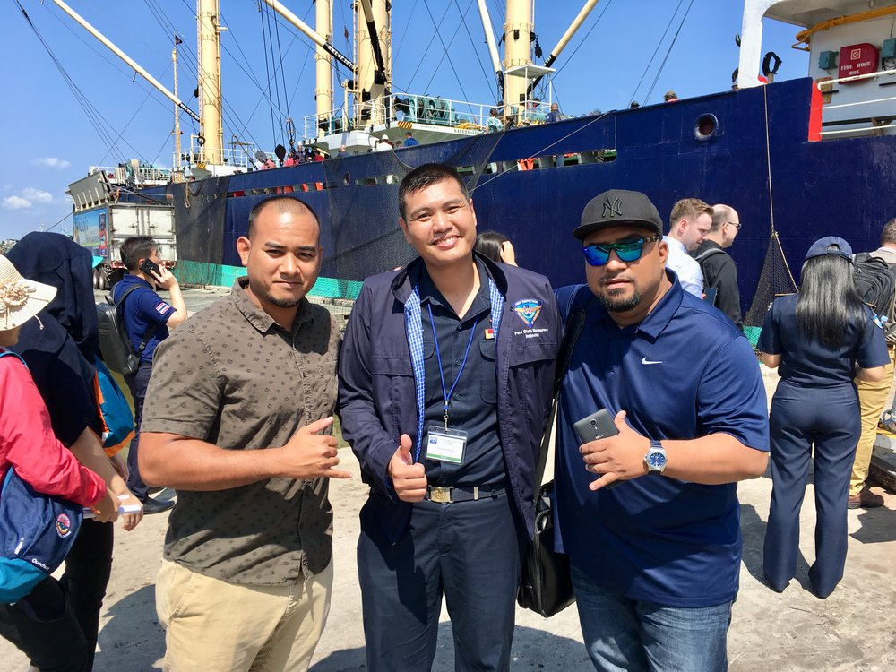 """Beau and Lawrence get to know Makai (Thira), we all work around PSM at both end of the """"tuna highway"""" in between Majuro and Bangkok."""