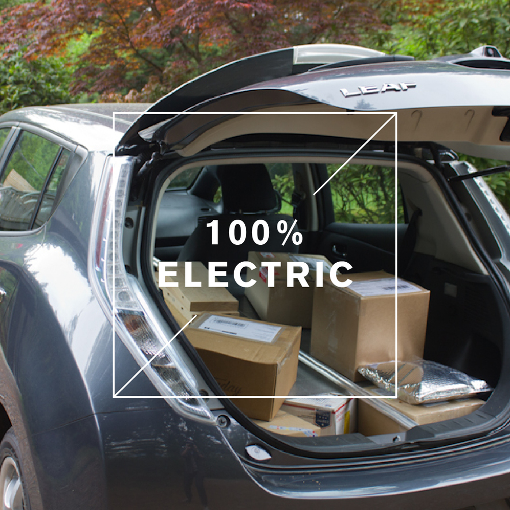 All of Gamla's small deliveries and supply runs are made in this 100% electric Nissan Leaf. We know this one car isn't saving the world, but every small step in the right direction counts.