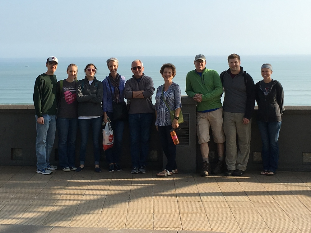 Our group in front of the Pacific Ocean