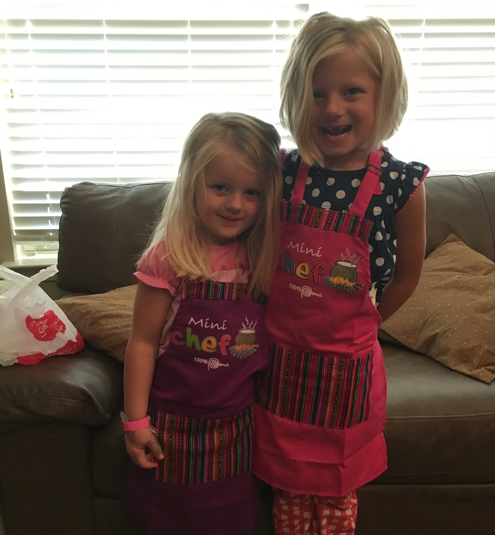 Brooke & Annabelle wearing their aprons!