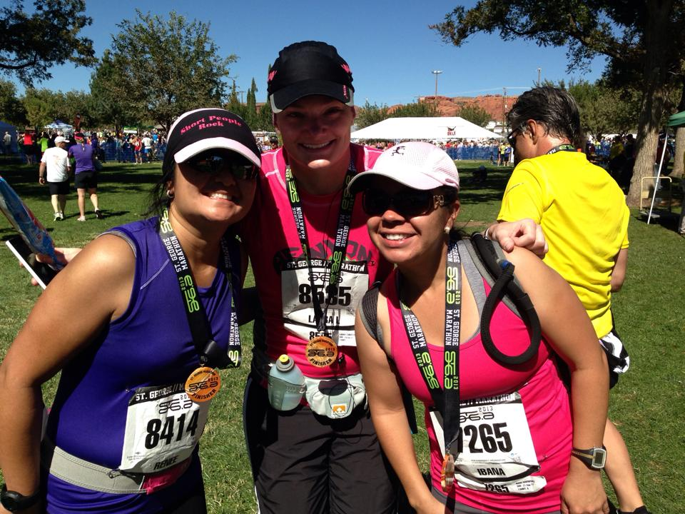 Renee, Laura and Ibana after finishing The St George Marathon 2013