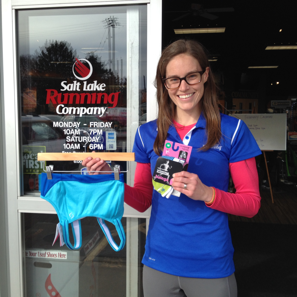 At the 700 E location of  Salt Lake Running Company  socks and well as supportive bras were recommended.