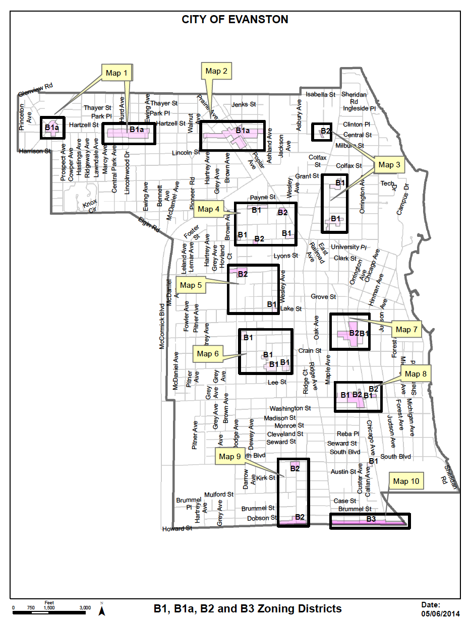 Overview of the locations affected by the zoning change