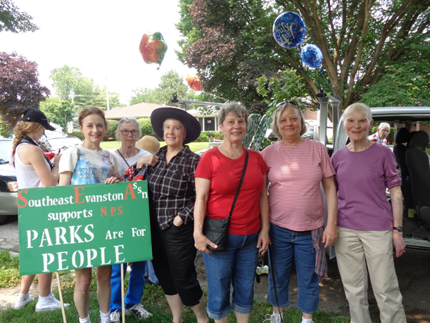 Below pictured left to right: Hayley Robb (Journalist), Sheila Sullivan (SEA), Anne Burket (SEA), Anna Roosevelt (SEA), Jeanne Lindwall (No Park Sale), Ald. Judy Fiske (1st Ward), Barbara Janes (No Park Sale)    Photo: Moira Sullivan (SEA)