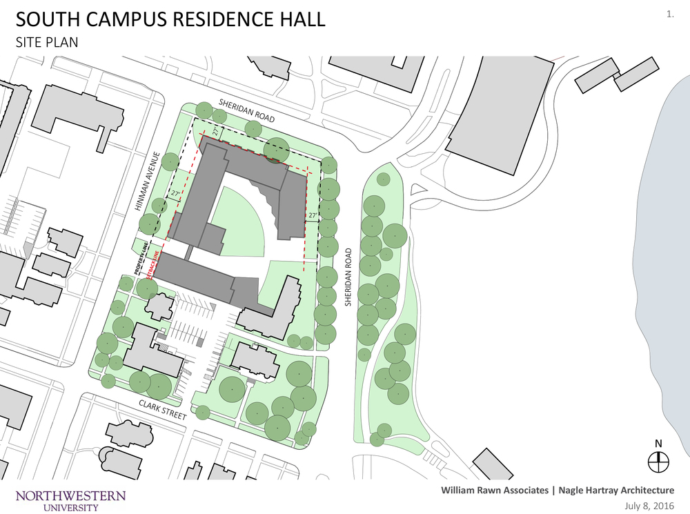 Site plan for replacement dorms proposed by Northwestern University.