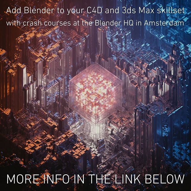 Want to learn #b3d as a #c4d or #3dsmax user?⠀ I'll be teaching one-week crash courses at the the Blender Institute in Amsterdam!⠀ Check out all the info here: https://buff.ly/2Cnk4sy⠀ ⠀ #mograph #motiongraphics #training #course #crashcourse #pro #cg #3D #generalist  #amsterdam