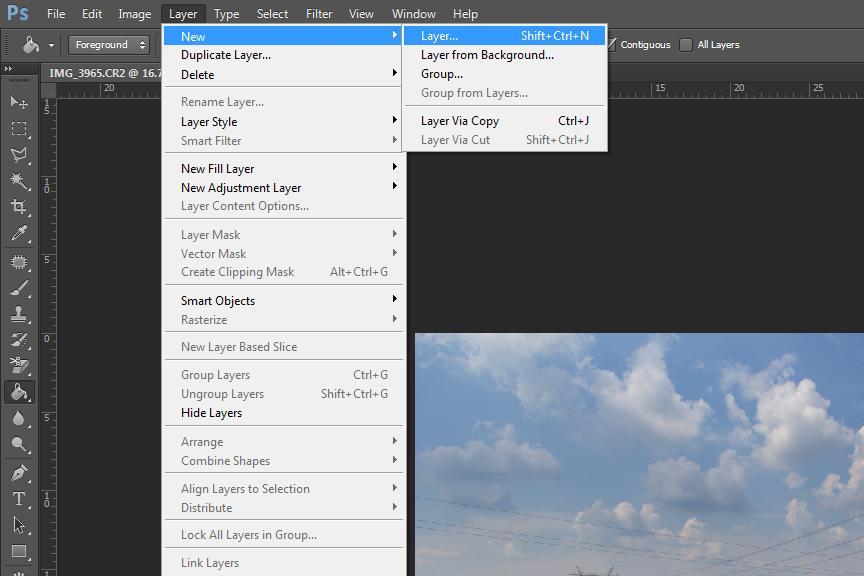 Kreirajte novi sloj u fotosopu Kliknite u meniu na Layer>New>Layer