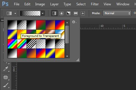 """Izaberite nacin """"farbanja"""" koji gradijentno nanosi boju prednjeg plana na providan sloj"""