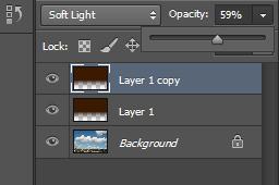 Ukoliko je nebo i dalje nedovoljno kontrastno, mozete duplirati sloj (skracenica na tastaturi ctrl+j). Ili ukoliko je prekontrastno mozete smanjiti opacity. Osim toga mozete se igrati sa gradijentnim slojem koji nema potpuno crnu boju nego neku nijansu mrke,roze,zute...