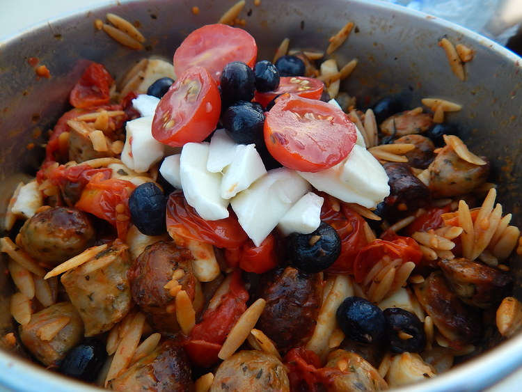 Red, white and blue warm salad. My contribution for the Fourth of July. The recipe will be on my blog eventually!