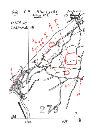 Odette's map, 1944